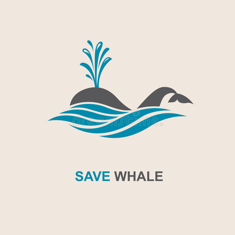 Abstract whale icon. Design with abstract symbol of whale and sea wave vector illustration