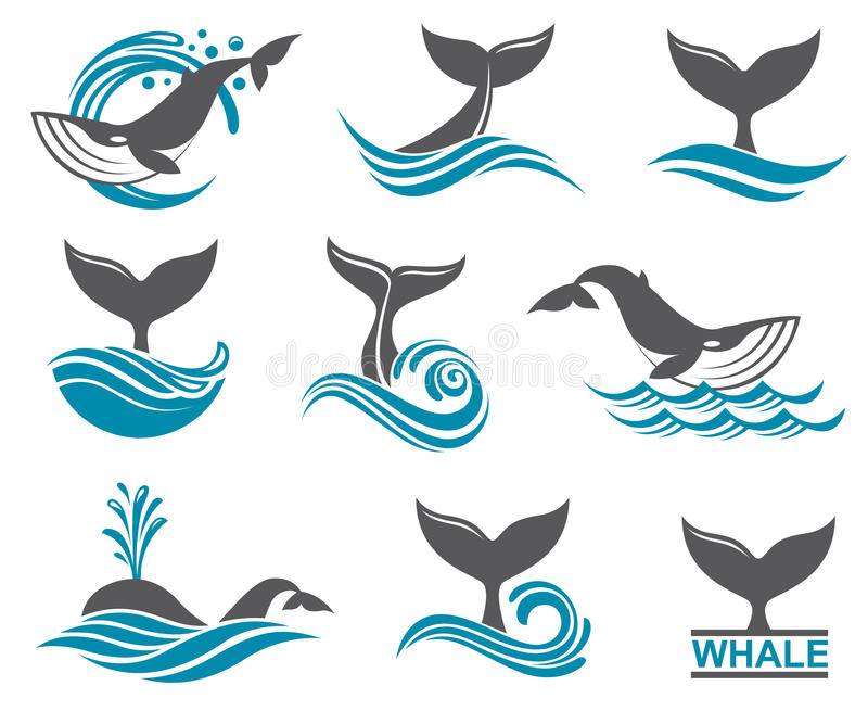 Abstract whale icons set stock illustration