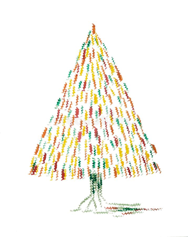 Abstract whimsical Christmas tree. The dabbing technique near the edges gives a soft focus effect due to the altered surface roughness of the paper stock illustration
