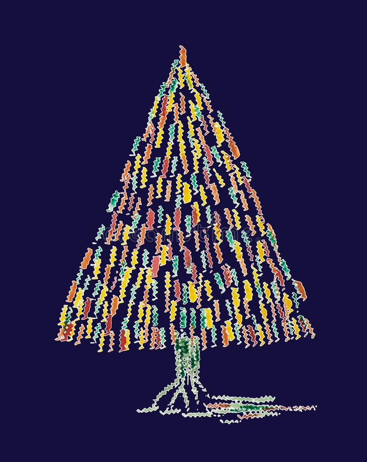 Abstract whimsical Christmas tree on a blue background. The dabbing technique near the edges gives a soft focus effect due to the altered surface roughness of royalty free illustration