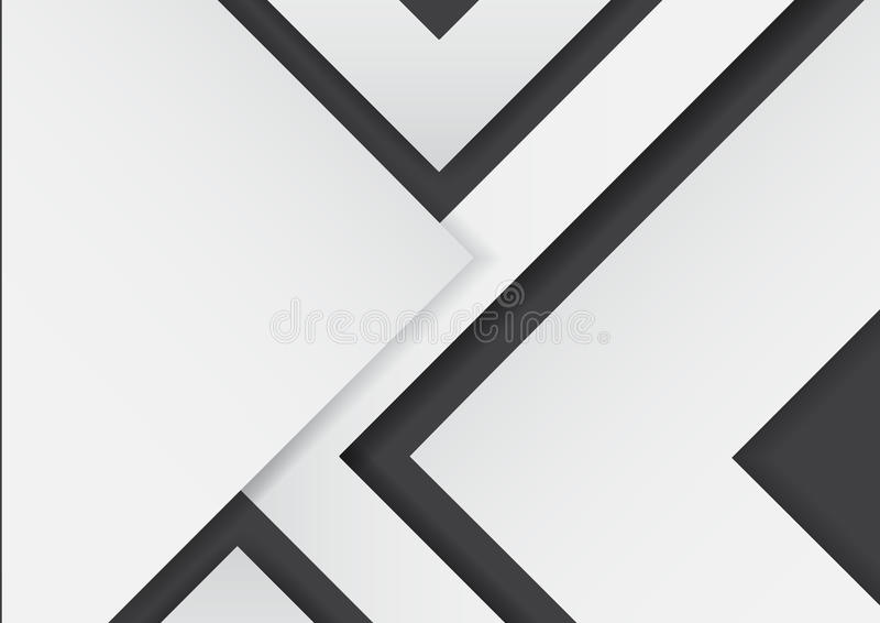Abstract white arrows on black background with paper art style. royalty free illustration