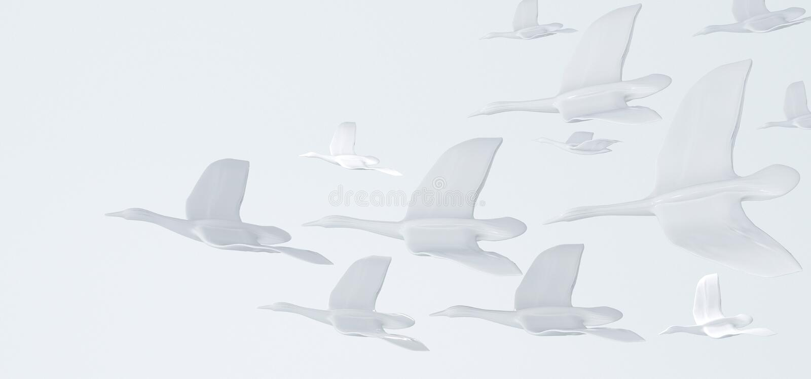 Abstract white background with white birds. The concept of freedom, purity and peace. vector illustration