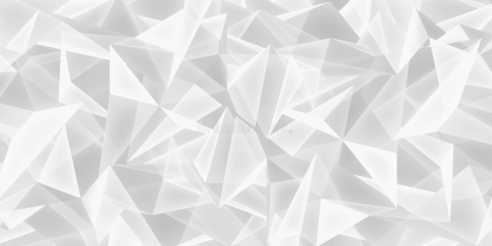 Abstract white background, glass crystals texture, many triangles light wallpaper, vector design royalty free illustration