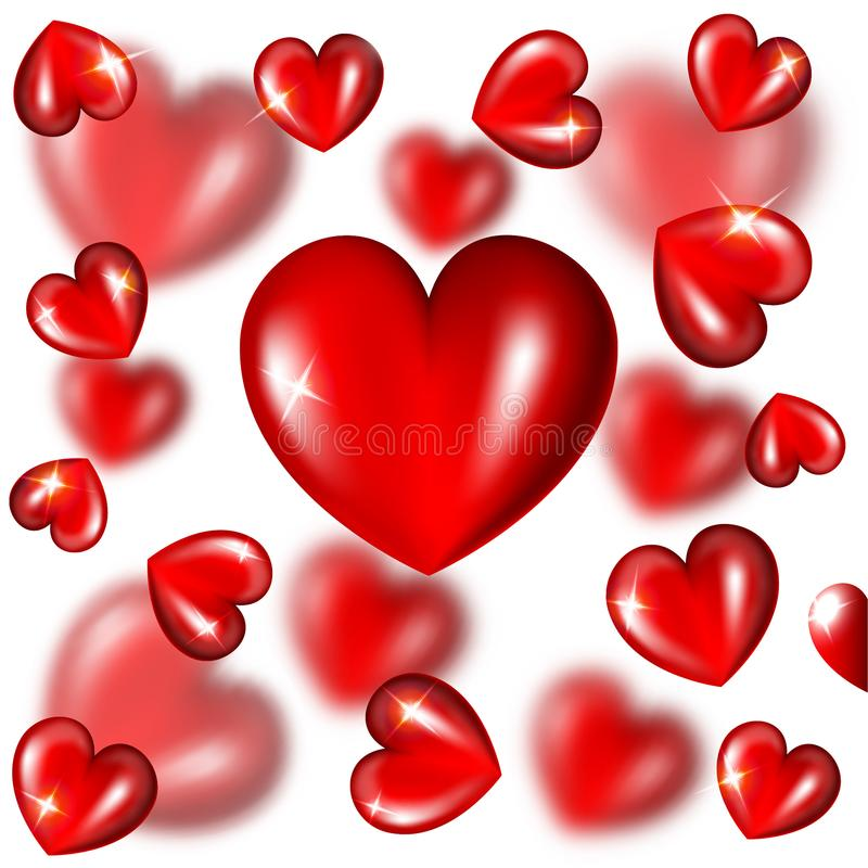 Abstract white background with red hearts and depth of field. Effect stock illustration