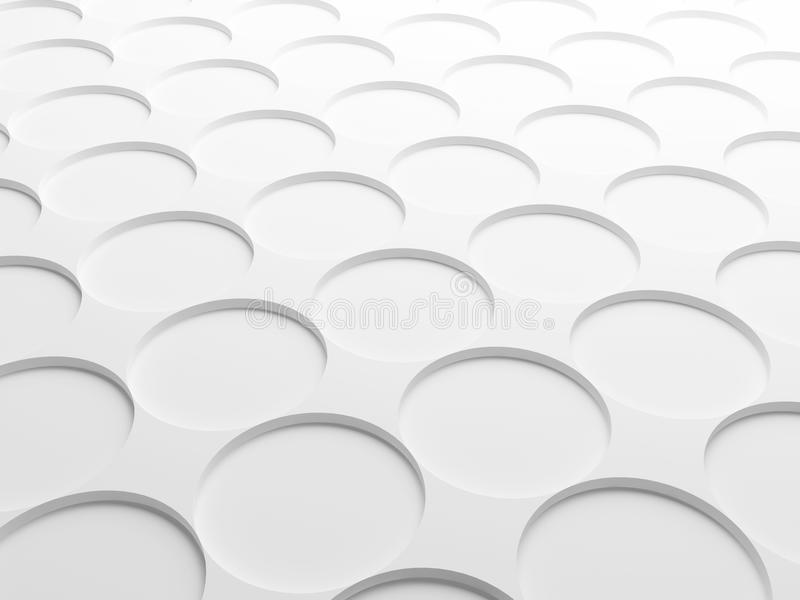 Abstract white background texture. With round elements pattern. 3d illustration stock illustration
