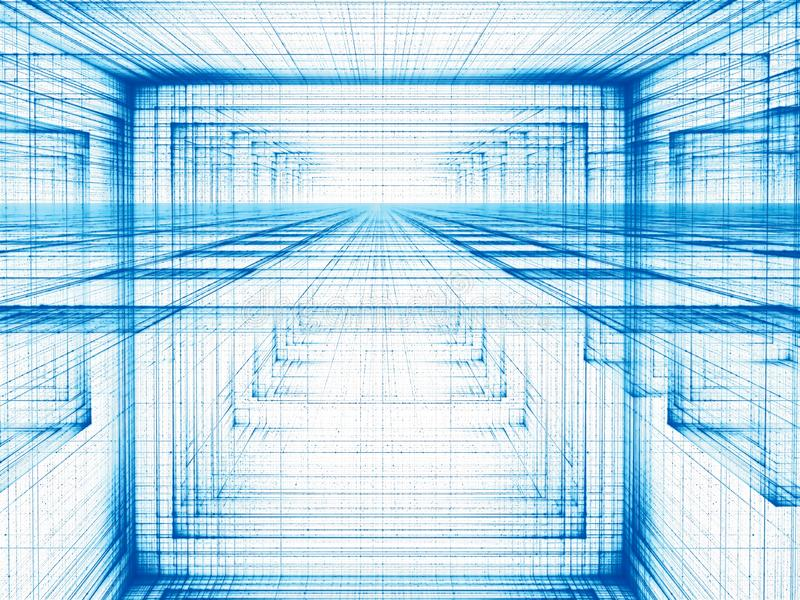 Abstract white and blue background - tunnel or portal - digitall stock illustration