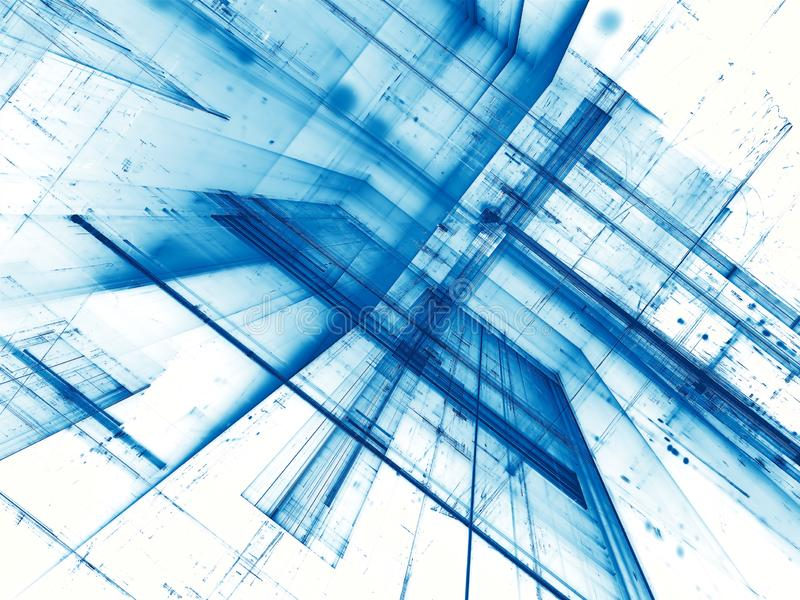 Abstract white and blue fractal background - digitally generated. White and blue tecnology background - abstract computer-generated image. Digital art stock illustration
