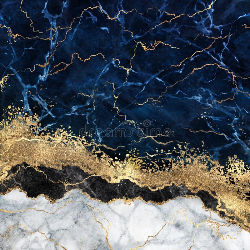 Free Abstract White Blue Marble Background With Golden Veins, Fake Stone Texture, Liquid Paint, Gold Foil And Glitter Decor, Painted Stock Images - 190573264