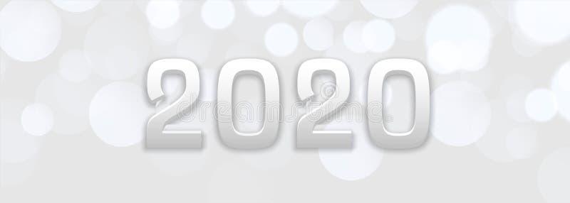 Abstract white bokeh new year 2020 banner design vector illustration