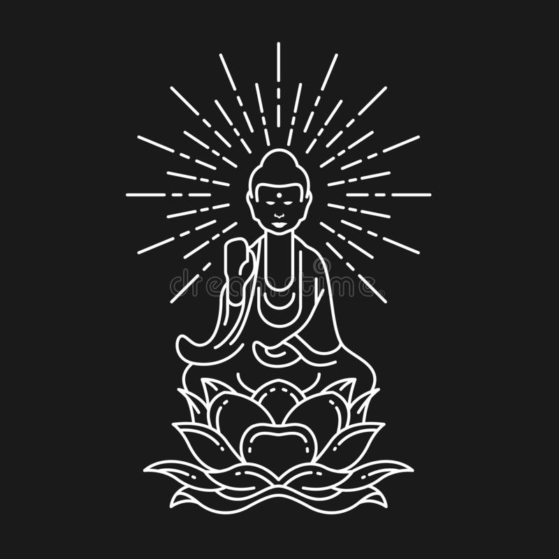 Abstract white border line Buddha Meditation on lotus flower sign on black background vector design vector illustration