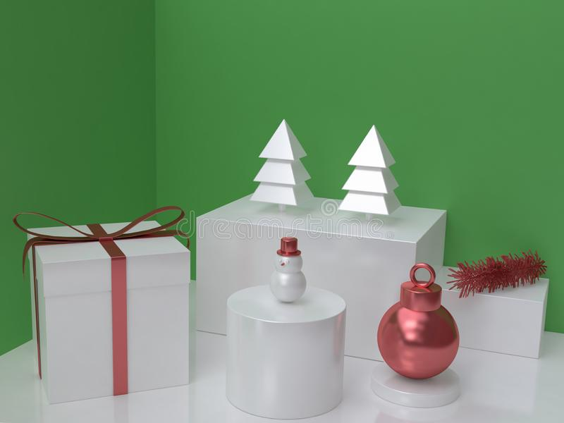 Abstract white christmas tree,metallic red ball white glossy snowman and gift box green background 3d render. Ing stock illustration