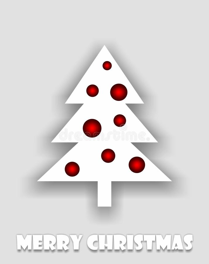 Abstract white christmas tree with red balls royalty free illustration