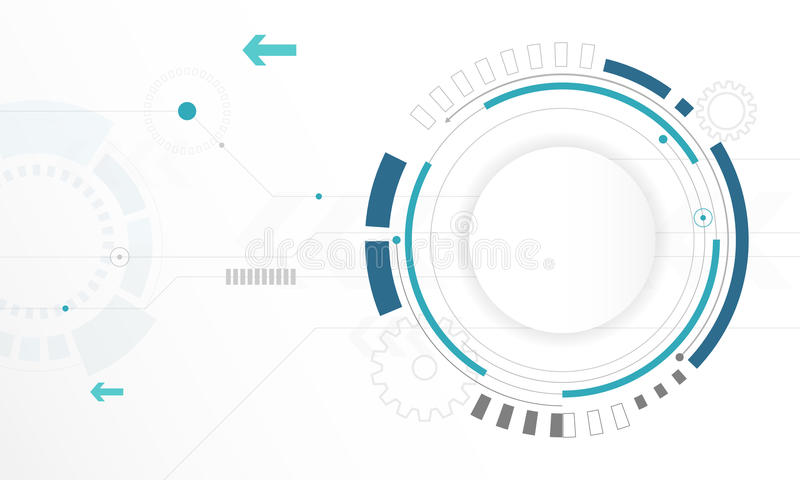 Abstract white Circle digital technology background, futuristic structure elements concept background stock illustration