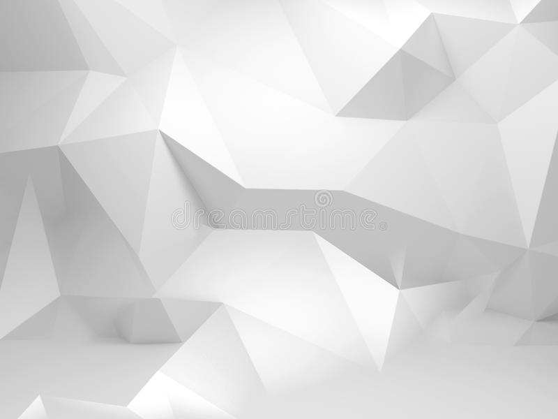 Abstract white 3d background with polygonal pattern royalty free illustration