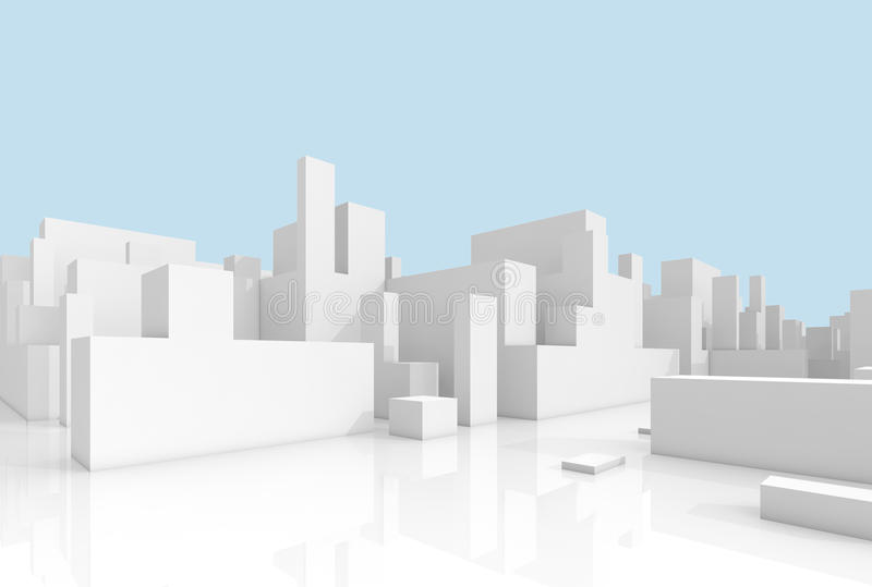 Abstract white 3d cityscape over light blue. Abstract white schematic 3d cityscape over light blue sky background stock illustration