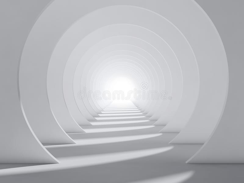 Abstract white 3d round tunnel interior stock illustration