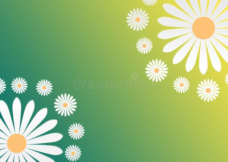 Abstract White Daisy Flowers in Gradated Green and Yellow Background vector illustration