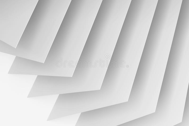 Abstract white digital 3d background. Abstract white digital background, geometric installation of thin paper sheets. 3d render illustration royalty free illustration