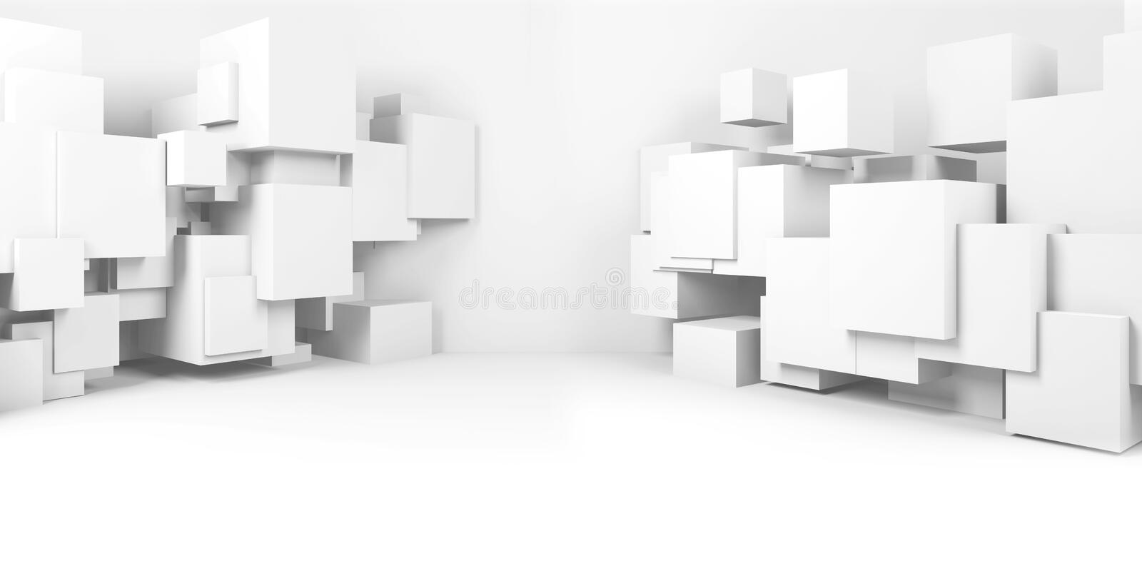Abstract white digital interior background 3d royalty free illustration