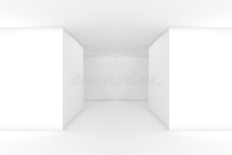 Abstract white empty modern interior, 3d corridor stock illustration