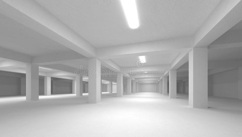 Abstract White Empty Underground Parking Stock Photography