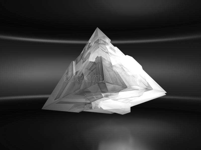 Abstract white flying pyramid crystal object 3d vector illustration