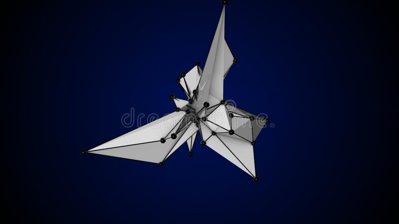 Abstract White Fractal Geometric, Polygonal or Lowpoly Style Black Sphere made From a Triangular vector illustration