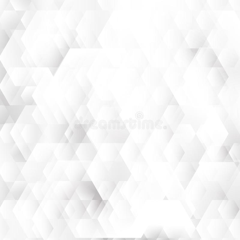 Abstract white and gray geometric hexagons shapes overlapping background stock illustration