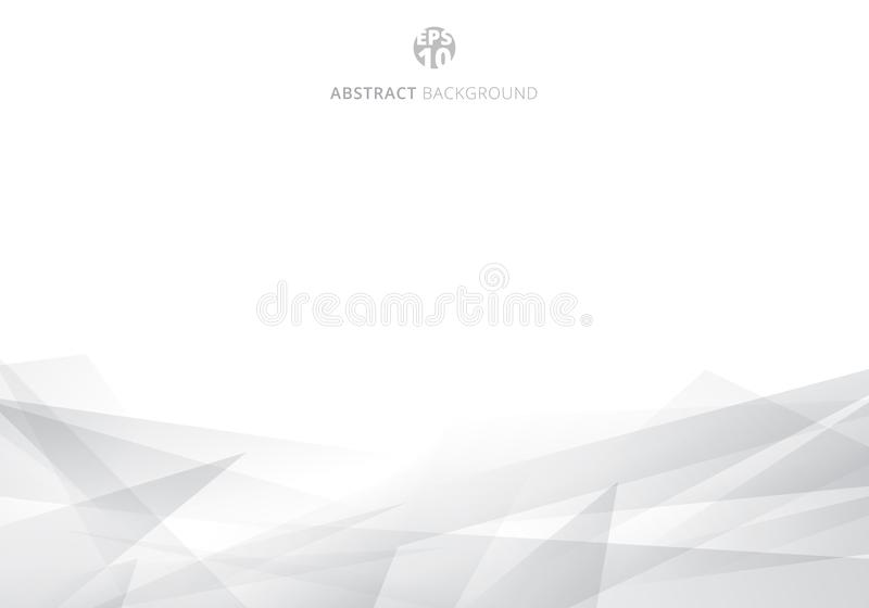 Abstract white and gray polygonal header background with copy space. Geometric template for brochure, cover, card design, banner web, poster. Vector royalty free illustration