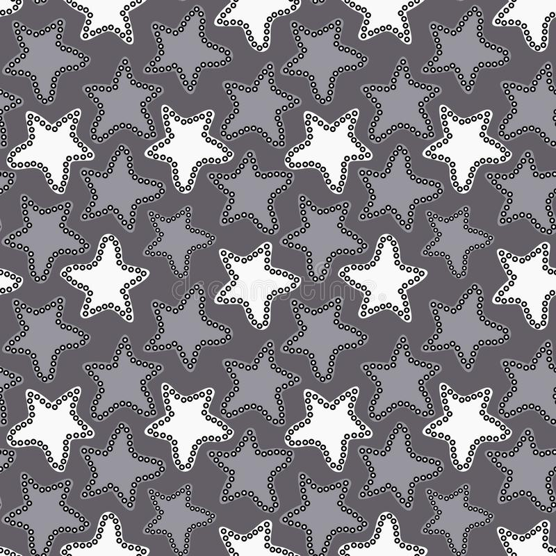 Abstract white and gray stars on dark gray background. vector illustration
