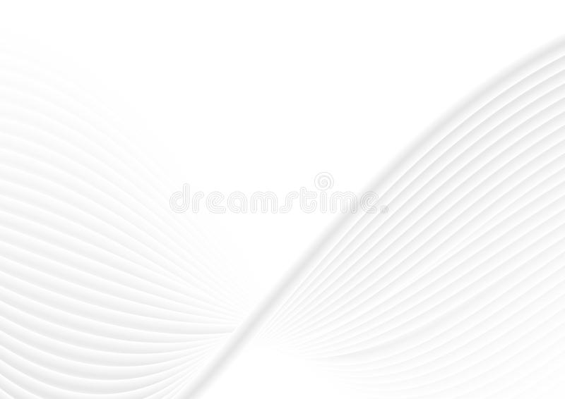 Abstract white grey waves and lines pattern vector illustration