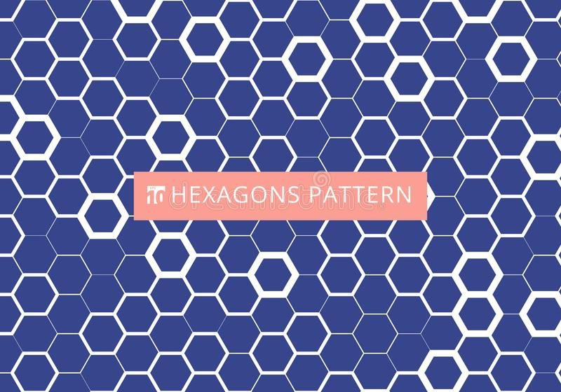Abstract white hexagonal pattern on blue background. Honeycomb design. Chemistry hexagons modern stylish texture stock illustration