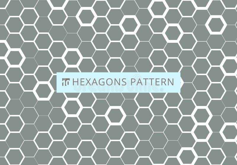 Abstract white hexagonal pattern on gray background. Honeycomb design. Chemistry hexagons modern stylish texture vector illustration