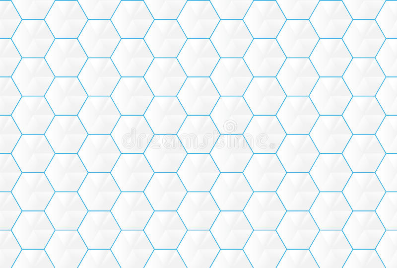 Abstract white hexagons and blue lines seamless backgroud vector illustration