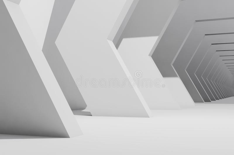 Abstract white interior background, empty hall. Abstract white interior background, empty corridor perspective. 3d render illustration royalty free illustration