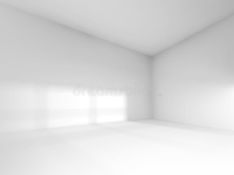 Abstract white interior, empty room with soft light. Illumination. 3d render illustration stock illustration
