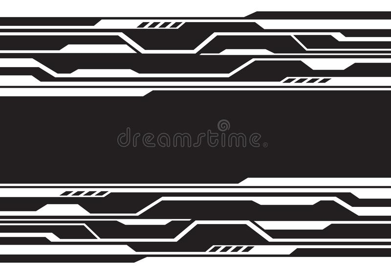 Abstract white line circuit futuristic technology on black design modern background vector vector illustration