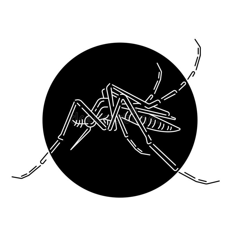 Abstract white line mosquito in black circle vector design stock illustration