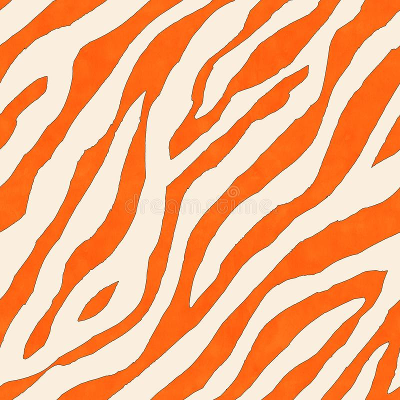 Abstract white and orange zebra striped ink textured seamless pattern background vector illustration