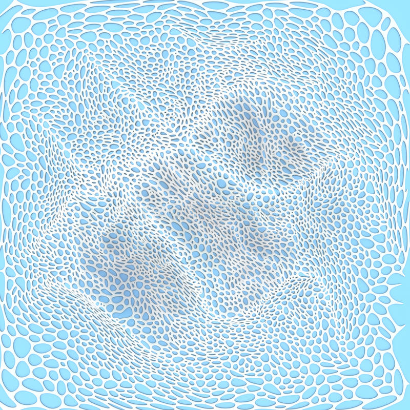 Abstract white pattern on blue background. 3d rendering. Voronoi abstract white pattern on blue background. 3d rendering stock photography