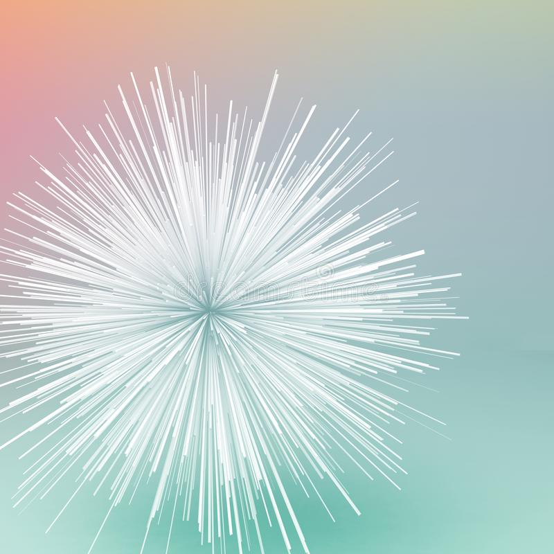 Abstract white random radial explosion 3 d. Abstract white random radial explosion object over colorful background. Square 3d illustration stock illustration