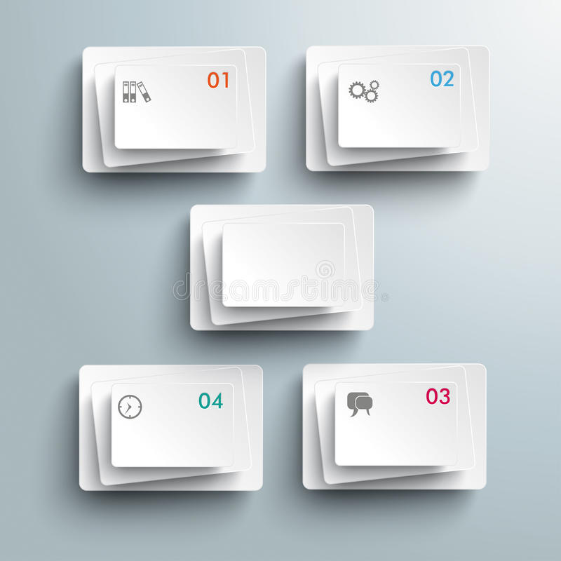 5 Abstract White Rectangles Infographic. 5 white rectangles on the grey background stock illustration