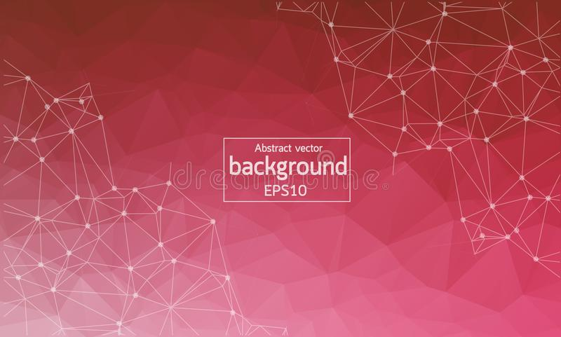 Abstract White Red Polygonal Space Background with Connecting Dots and Lines. Connection structure. Vector science background. Po royalty free illustration