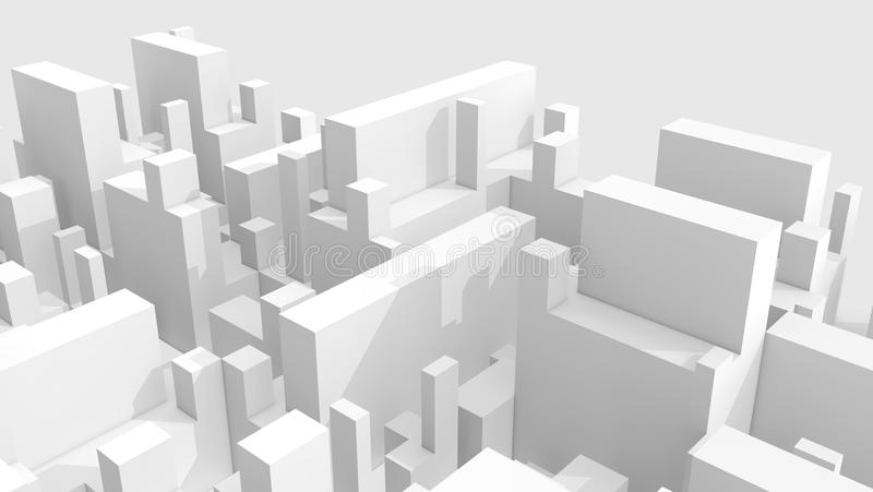 Abstract white schematic 3d cityscape over gray royalty free illustration