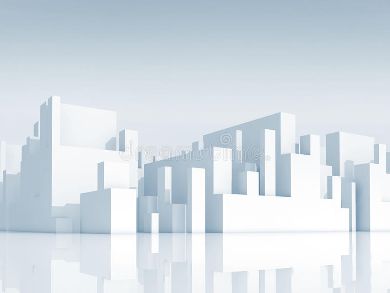 Abstract white schematic 3d cityscape, render stock illustration
