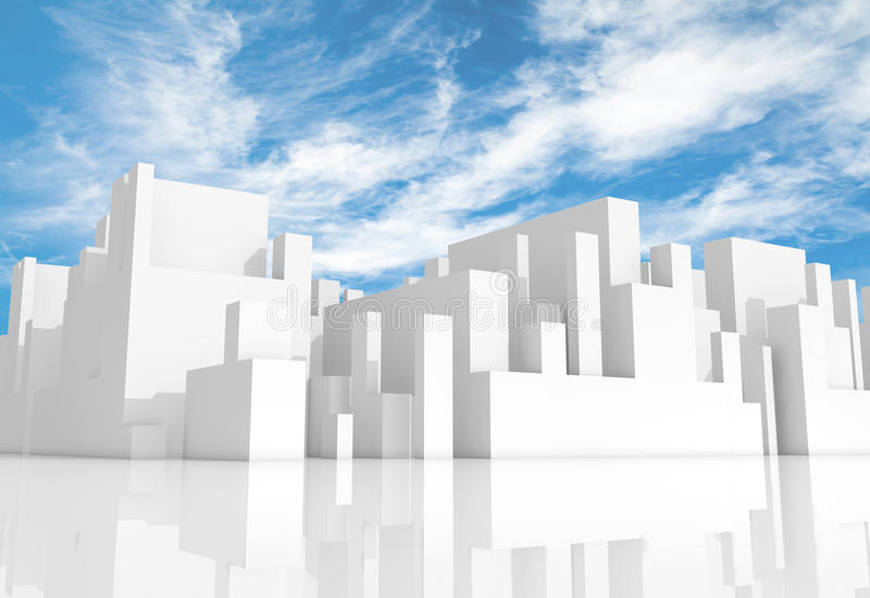 Abstract white schematic 3d cityscape with sky. Abstract white schematic 3d cityscape with natural bright cloudy sky on a background vector illustration
