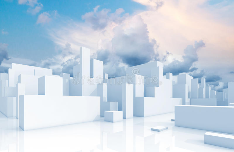 Abstract white schematic 3d cityscape and sky. Abstract white 3d cityscape over natural cloudy sky background