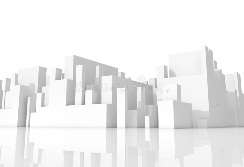 Abstract white schematic 3d cityscape on white stock illustration