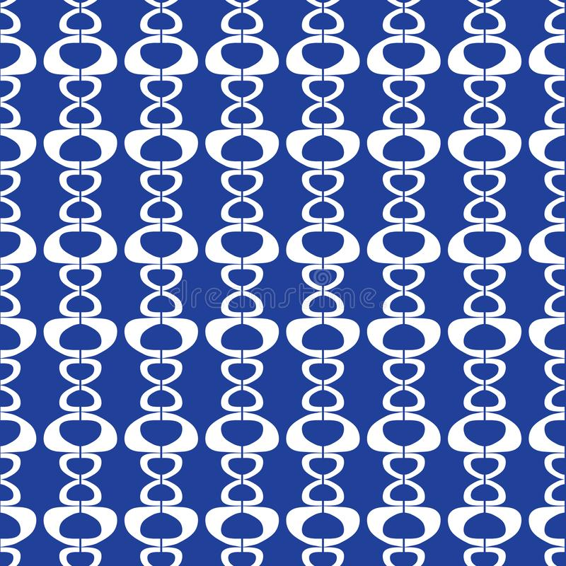Abstract seamless repeat of white shapes on a blue background. Modern geometric striped vector design background ideal vector illustration