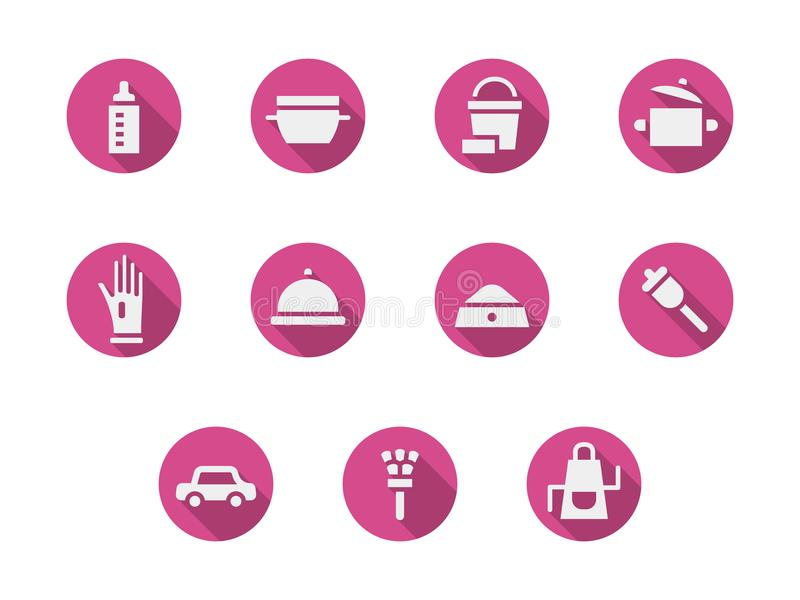 Household chores pink round icons set. Abstract white silhouette symbols for household chores. Baby nursing, cooking and home cleaning, pets treatment and others royalty free illustration
